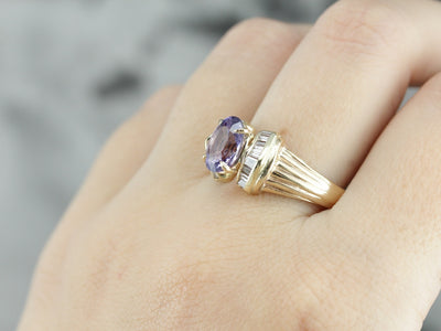 Modern Purple Sapphire Statement Ring