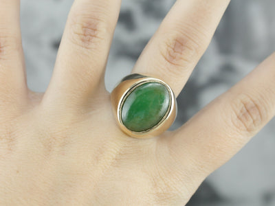 Vintage Men's Jadeite Ring in Yellow Gold