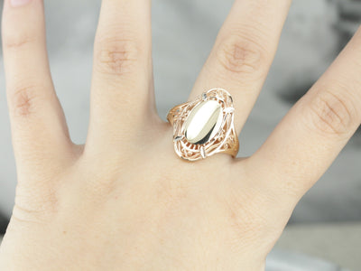 Mixed Metal Filigree Signet Ring