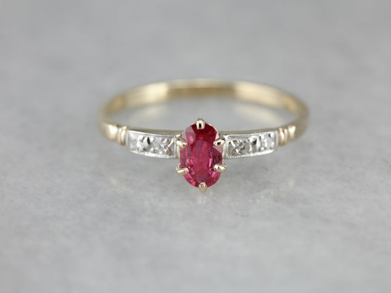 1940's Retro Ruby Engagement Ring