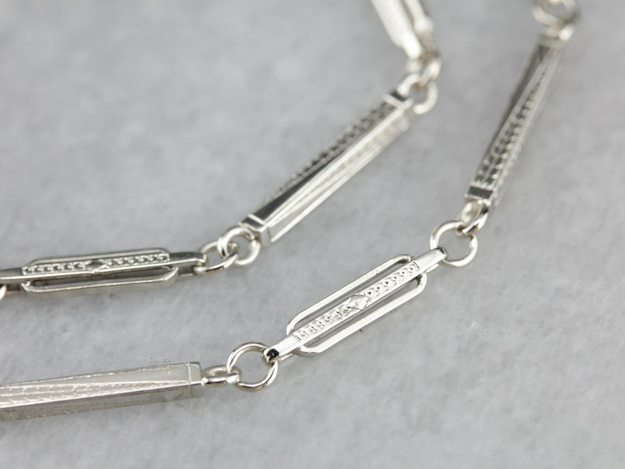 Art Deco White Gold Pocket Watch Chain