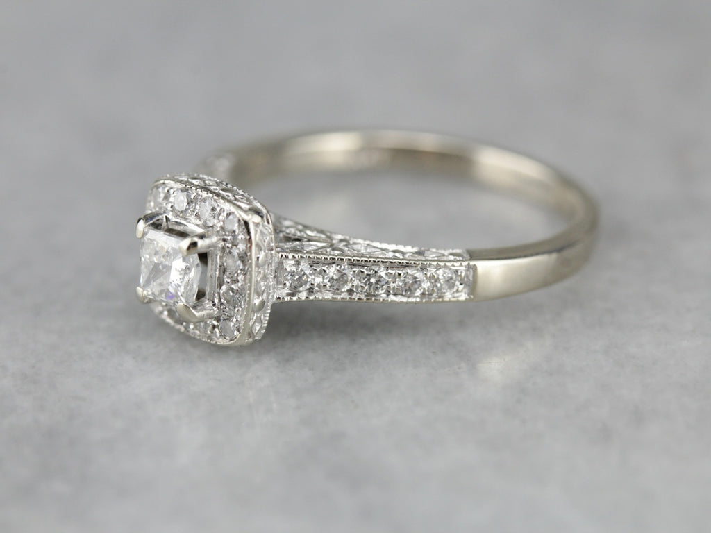 Contemporary Diamond Halo Engagement Ring