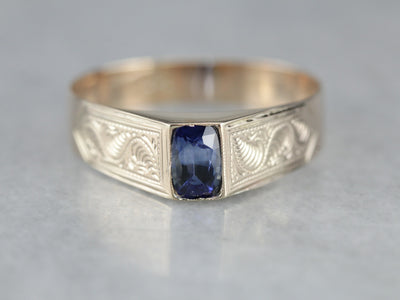 Men's Antique Sapphire Solitaire Ring
