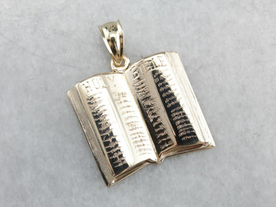 Vintage Holy Bible Gold Charm