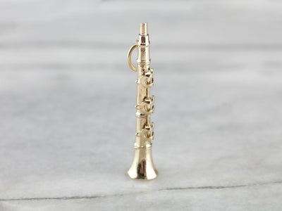 Clarinet With Moving Parts Gold Charm Pendant