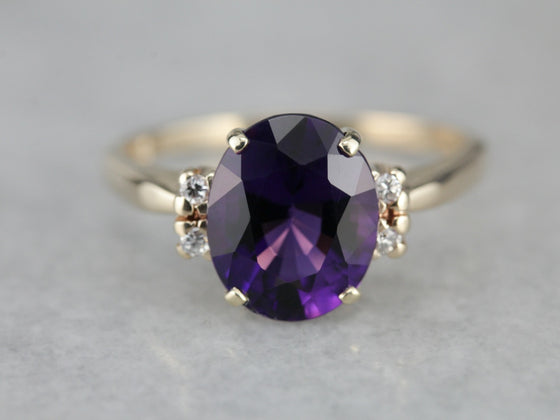 Classic Amethyst Cocktail Ring in Yellow Gold