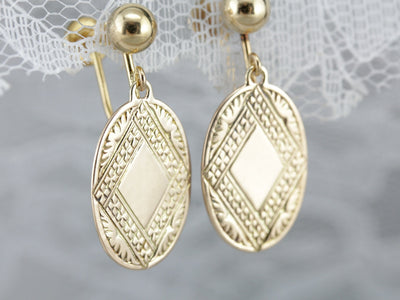 Gold Retrofitted Cufflink Drop Earrings