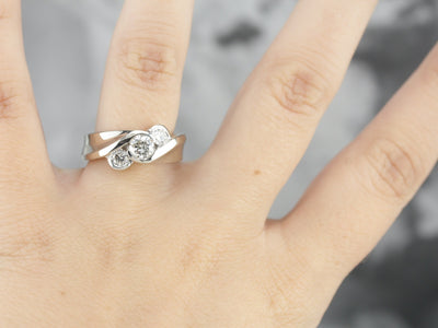 Modern Three Diamond Anniversary Ring