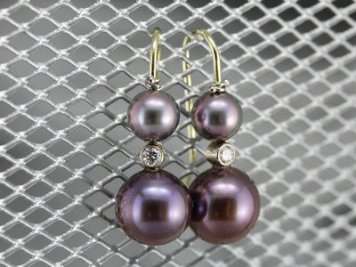 Aubergine Pearl and Diamond Gold Drop Earrings