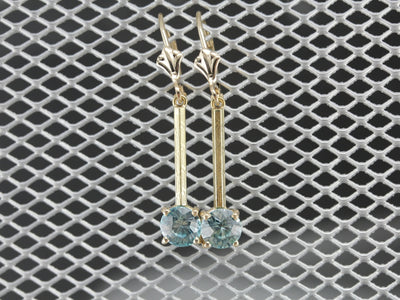 Blue Zircon Gold Bar Drop Earrings