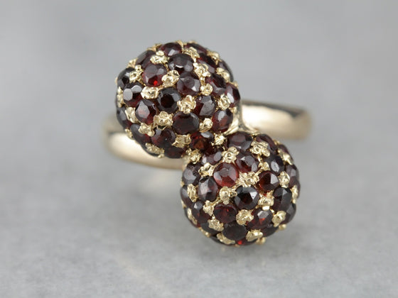 Toi et Moi Garnet Cocktail Ring
