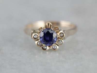 Unique Sapphire Seed Pearl Solitaire Ring