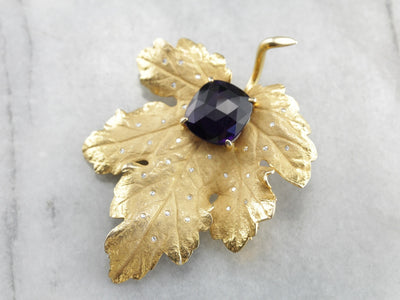Vintage Sculpted Leaf Pin with Amethyst and Diamonds