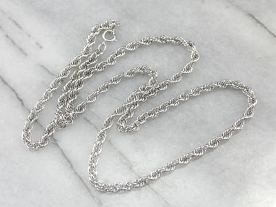 Polished White Gold Twist Chain
