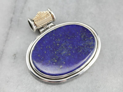 Bold Lapis East West Mixed Metal Pendant