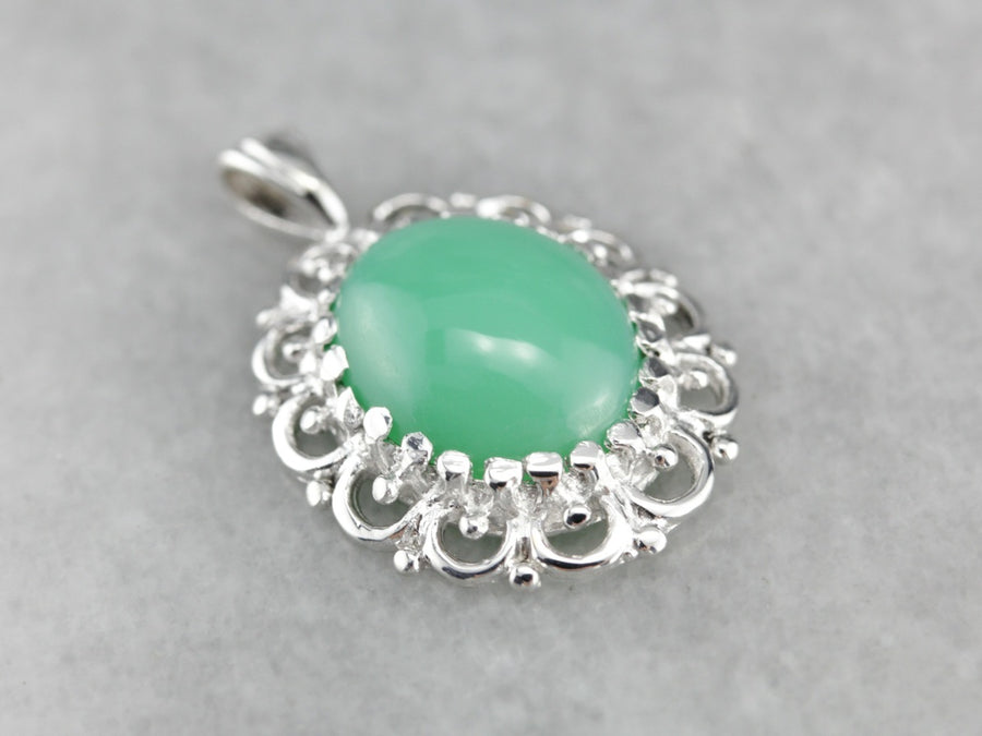 Chrysoprase Lace Filigree White Gold Pendant