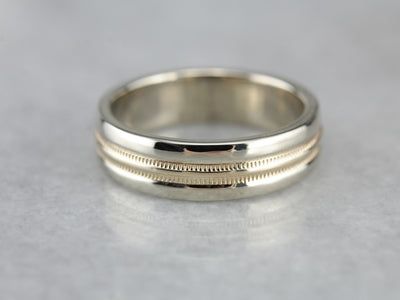 Vintage Two Tone Gold Wedding Band