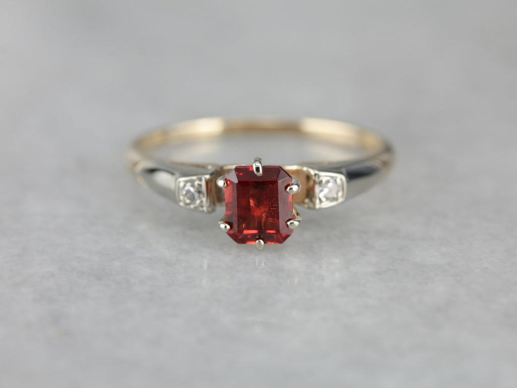 Spinel and Diamond Three Stone Ring in Yellow Gold
