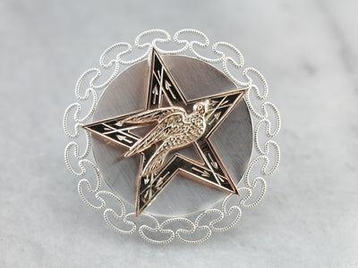 Star Sparrow Mixed Metal Upcycled Brooch