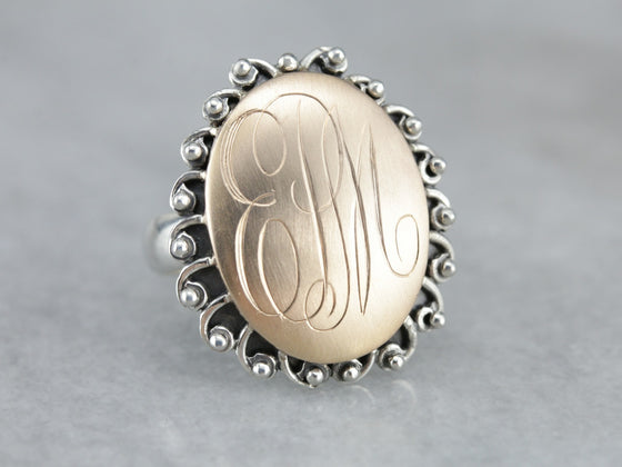 "Mixed Metal ""EPM"" Monogram Signet Ring"