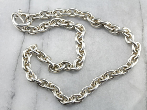 Heavy Sterling Silver Oval Link Chain Necklace