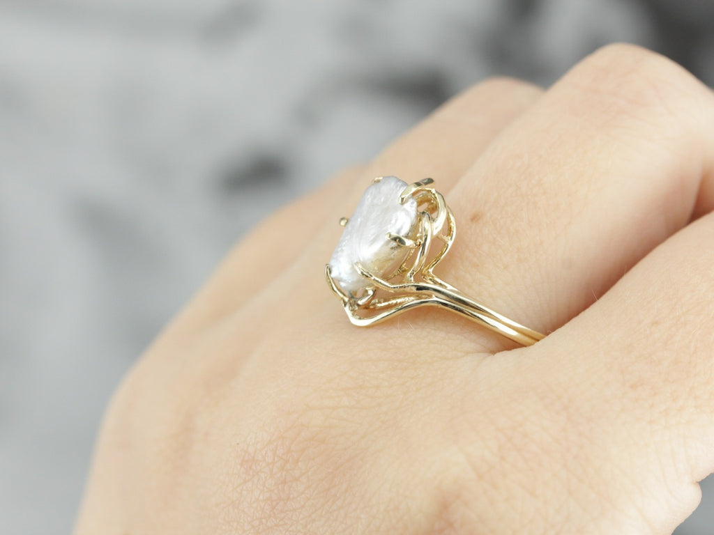 Unique Fresh Water Pearl Cocktail Ring