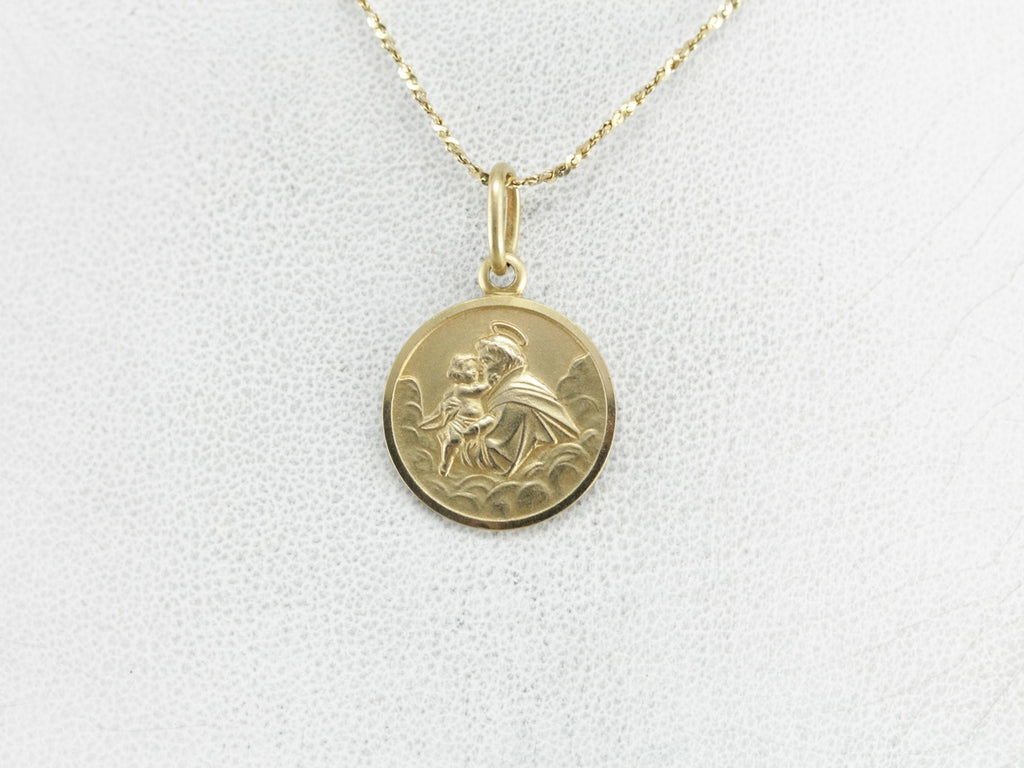 Gold St Anthony Religious Medallion