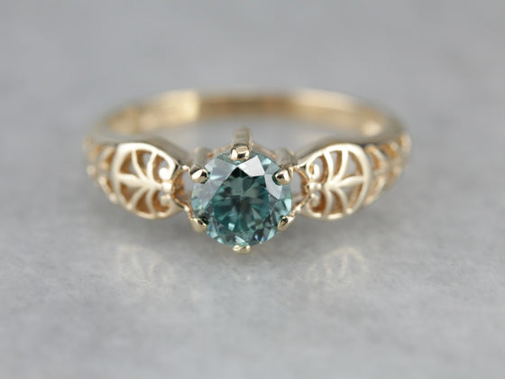 Blue Zircon Filigree Birthstone Ring
