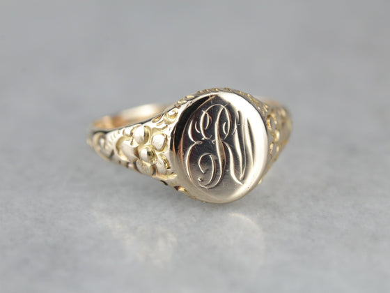 "Antique ""ERW"" Gold Floral Signet Ring"