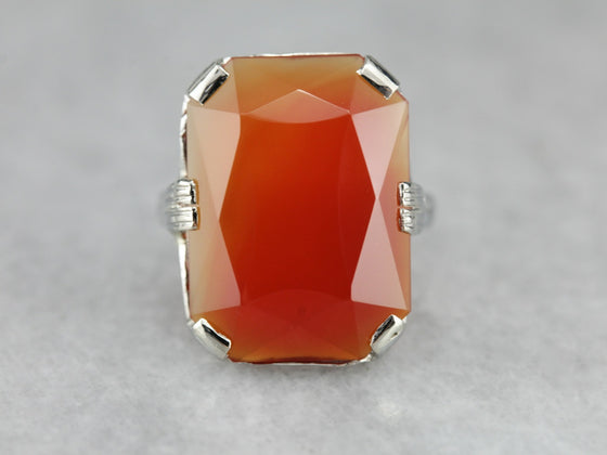 Fantastic Art Deco Carnelian Cocktail Ring