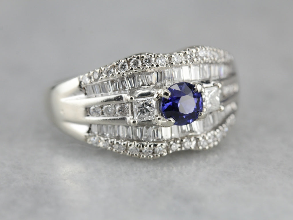 Stunning Sapphire and Diamond Cocktail Band