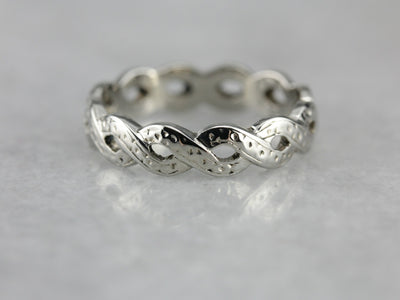 Twisted White Gold Decorative Wedding Band