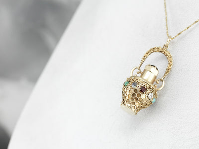 Antique Jeweled Perfume Bottle Pendant