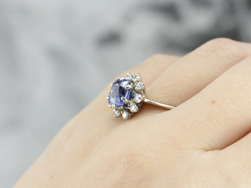 Vintage Sapphire Halo Cocktail Ring