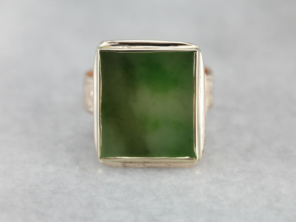 Fine Victorian Jade Statement Ring