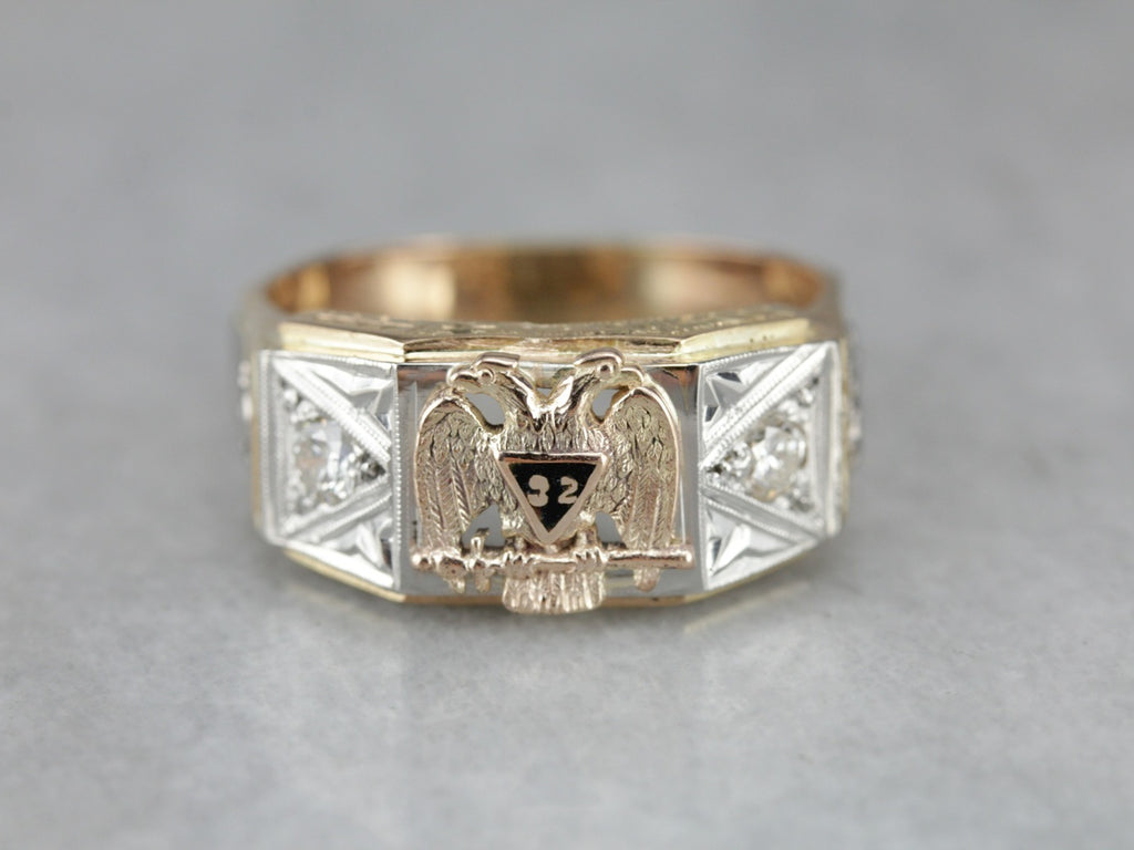 Antqiue Diamond Masonic Men's Ring