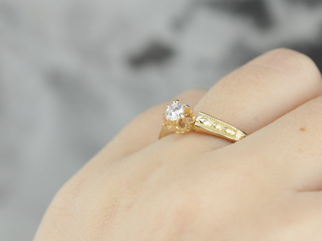 Antique Diamond Buttercup Solitaire Ring in Yellow Gold