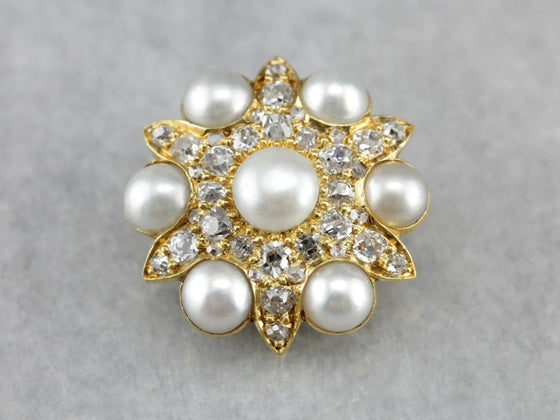 Victorian Old Mine Cut Diamond and Pearl Brooch