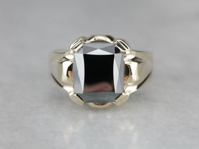 Retro Era Hematite Ring in Yellow Gold