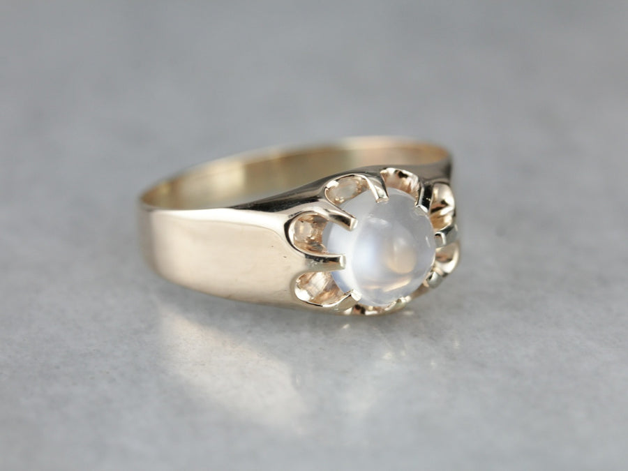 Men's Solitaire Moonstone Ring