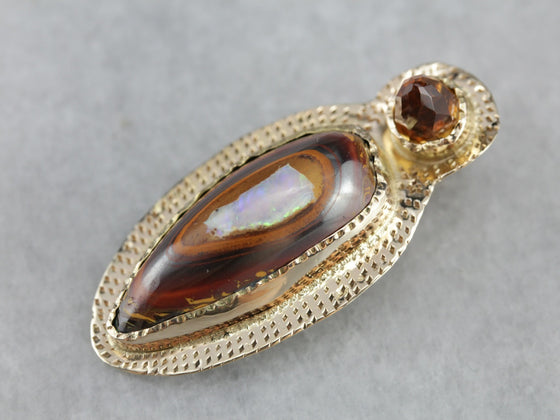 Primitive Boulder Opal and Citrine Pendant