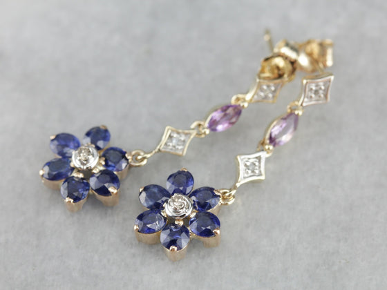 Pretty Floral Sapphire Diamond Amethyst Drop Earrings