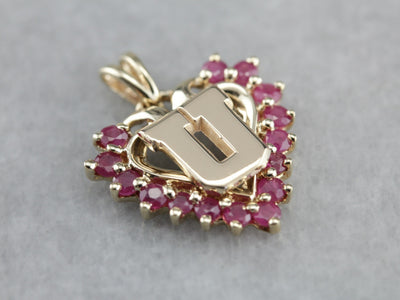 "Ruby Heart ""U"" Monogram Gold Pendant"