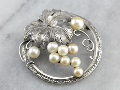 Gorgeous Silver Culture Pearl Brooch