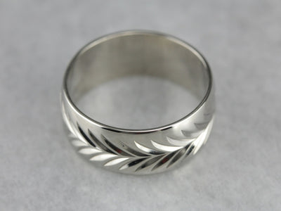 White Gold Pattern Wedding Band