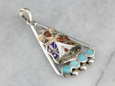 Upcycled Turquoise and Enameled Pendant