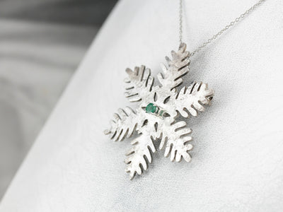 Winter Emerald Snowflake Brooch or Pendant