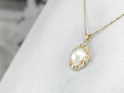 Bridal Diamond and Mabe Pearl Pendant