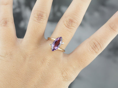 Amethyst and Diamond Bypass Ring