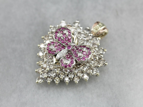 Diamond and Ruby Butterfly Cluster Pendant